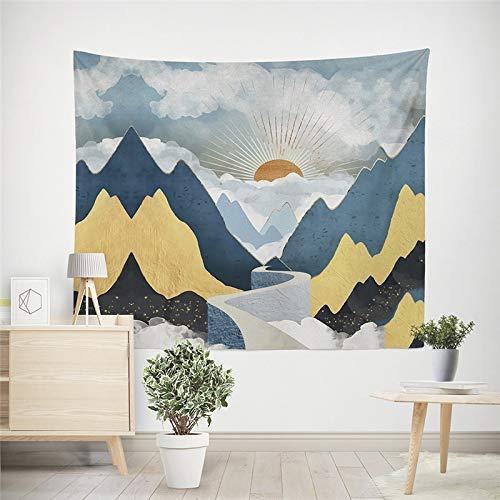 WERT Tapiz Colgante de Pared de montaña, Alfombrilla de Viaje para Acampar, patrón de Pintura al óleo de Amanecer, Alfombra de Yoga, Manta de Playa para Dormitorio A9, 150x130cm