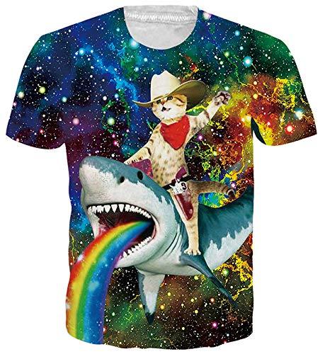 ALISISTER Hommes Femmes Cool T Shirts 3D Galaxie Requin Chat Imprimer T-Shirt Casual Été À Manches Courtes Nouveauté Tee Shirts L