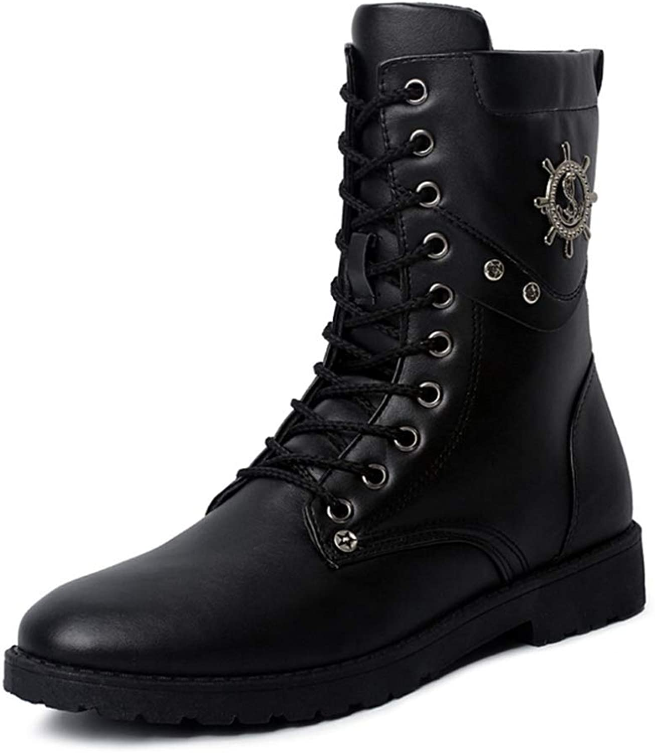 Men'S Martin Boots High Boots Combat Boots Black Leather Buckle Ankle Boots Punk Rock Combat Boots Military Boots Chelsea Boots