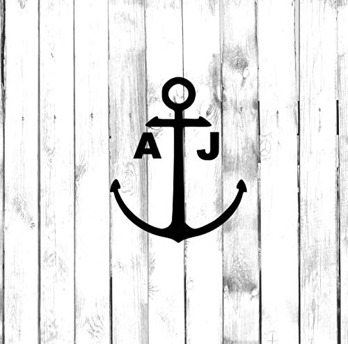 Boat Anchor Sticker with Custom Initials Car Sticker,Vinyl Window Decals for Bottle Laptop Cars Wall Art Quote Funny Stickers