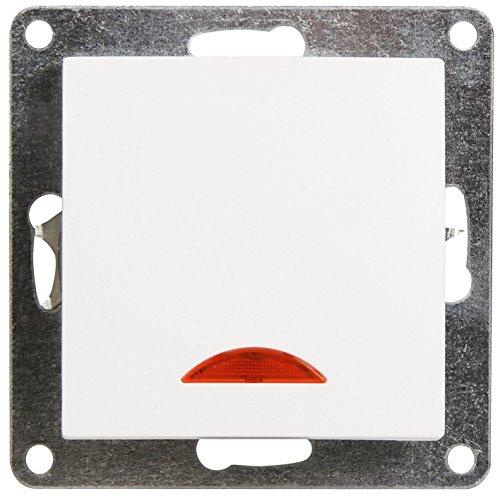 MC POWER - Schalter | FLAIR | 250V~/10A, UP, weiß, matt, mit Orientierungs-Leuchte