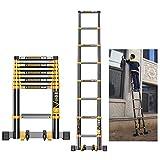 Telescopic Ladder with Stabiliser Bar, Aluminum Extension Telescoping Tall Loft Ladder, 330 lbs
