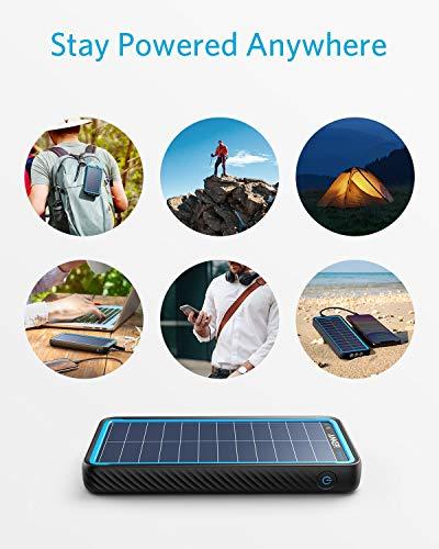 Anker Solar Power Bank, PowerCore Solar 10000 Dual-Port Solar Charger with Flashlight, IP64 Splashproof, Dustproof for…