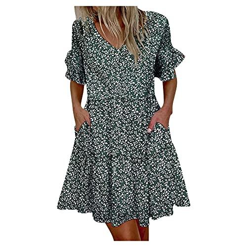 SolaXii Vestido acampanado para mujer con flores, vestido de verano, vestido de playa, vestido de manga corta para verano, informal, largo hasta la rodilla, vestido corto, vestido corto. verde XL