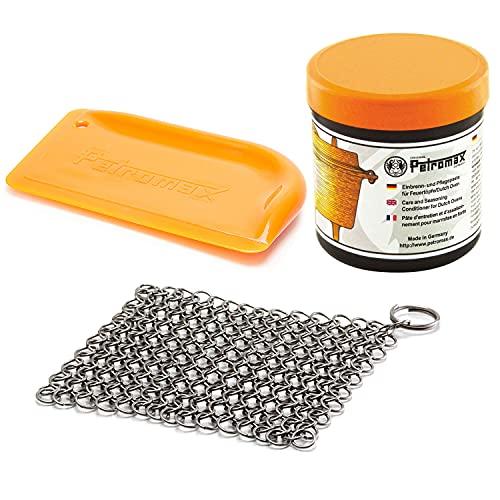 Petromax Feuertopf (Dutch Oven) Profi Zubehör Pflege-Set Pflegepaste Ringreiniger Reinigungs-Schaber (Schaber glatt)