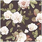 """HaokHome 93021 Retro Peony Floral Peel and Stick Wallpaper Removable Brown/Green/White/Red Vinyl Self Adhesive Contact Paper Decorative 17.7""""x 9.8ft"""