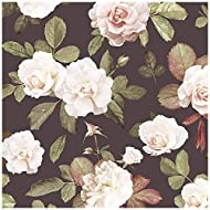 HaokHome 93021 Retro Peony Floral Peel and Stick Wallpaper Removable Brown/Green/White/Red Vinyl Self Adhesive 17.7in x 9.8ft