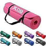 Esterilla gruesa de 15 mm y acolchada de Xn8 Sports con tiras para yoga, aerobic, pilates o gimnasio (Rosado)
