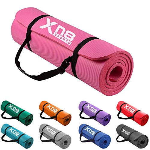 XN8 Yogamatte rutschfest Gymnastikmatte Pilatesmatte-Sportmatte Übungsmatte ür Fitness Pilates-Training-Aerobic and Gymnastik mit Tragegurt Pink