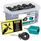 VOSS.farming 150x Anillo aislador para Hilo, Cinta, Cable para Pastor eléctrico, con Tornillo para Madera + Accesorio para Montaje