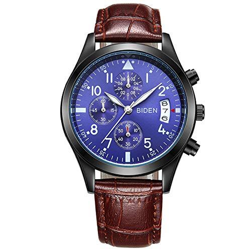 Men's Watch_One-Hand-Multifunktions-Quarzuhr Wasserdicht Herrenuhr Kaffee Mit Blauen Nudeln