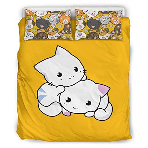 shenminqi Juego de sábanas de 3 piezas con funda de edredón y 2 fundas de almohada para niñas y niños, color blanco, 229 x 229 cm