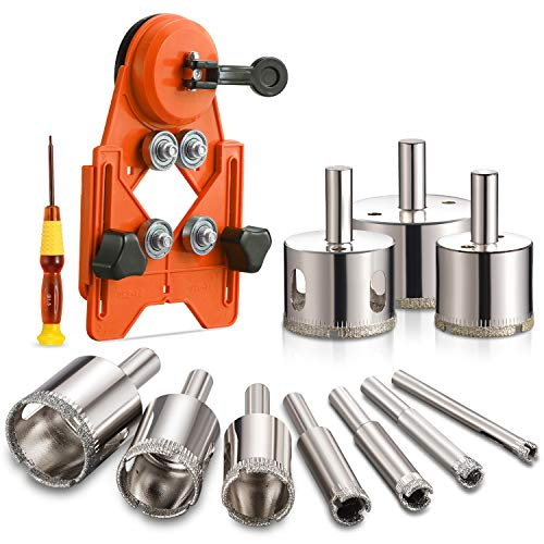 THINKWORK Diamond Drill Bits, Hollow Drill Hole Saw Set, 10-Piece Tile Opener with Hole Saw Guidance Fixture, Suitable for Ceramic, Glass, Tile, Porcelain, Marble