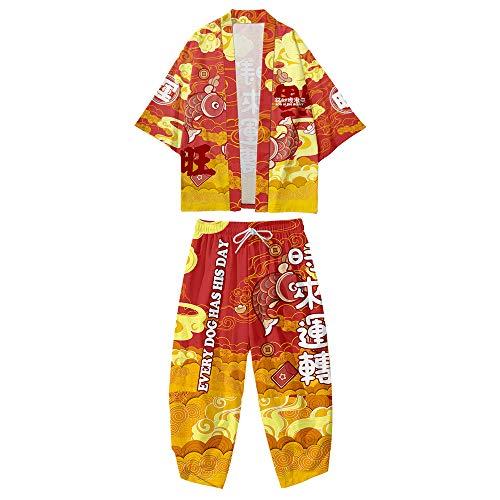 Conjunto Chaqueta Kimono para Hombre,Pantalones Harem Talla Grande,Capa Haori con Estampado Dibujos Animados Tendencia,Ropa Calle Primavera y Verano,Red-4XL