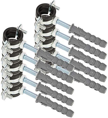 """KOTARBAU® 10er Set Rohrschelle 1/2\"""" mit Gummieinlage Vibrationsdämmend Rohrhalter Schraubrohrschelle Rohrbefestigung Rohrhalterung für Kanäle Rundleitungen Lüftungskanäle"""