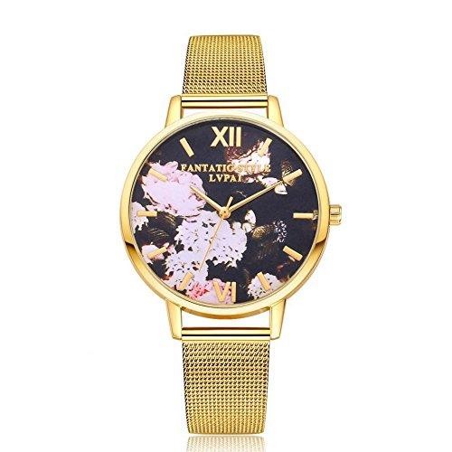 Dilwe Frauen Quarz Uhren, 3 Farben Moderne Armbanduhr mit Ineinander Greifen Stahlband und großem rundem Vorwahlknopf für Frauen(Gold)