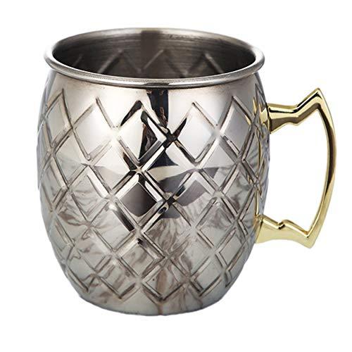 N / E Taza de acero inoxidable martillado chapado en cobre de 530 ml, taza de cerveza de Moscú, taza de café, taza de cerveza, taza de cerveza, taza de bebida, accesorios para el hogar