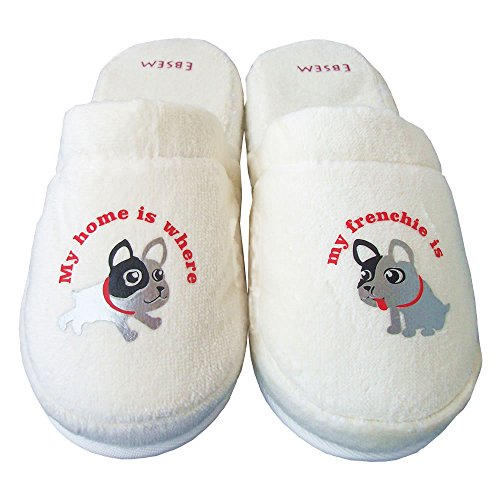 Ebsem - French Bulldog (Frenchie) Turkish Velvet Terry Towel Slippers Home, Spa, Bath 100% Cotton (8.5 to10)