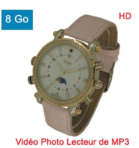 Reloj Mini Cámara Oculta espía Reproductor MP38GB Videocámara Cámara dictáfono Mujer MP3Rosa