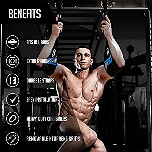 RIMSports Hanging Ab Straps for Pull up Bar for Core and Abdominal Training Pull up Bar Straps for Hanging Ab Exercises Abs Exercise Equipment and Gym Straps for Off Floor core Exercise