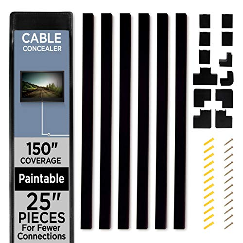 """Cable Shield Cable Concealer On-Wall Cord Cover with 6, 25"""" Raceways – 150"""" Cable Management System Hides Cords, Wires for Wall TVs, Computers – Black (236867AJX)"""