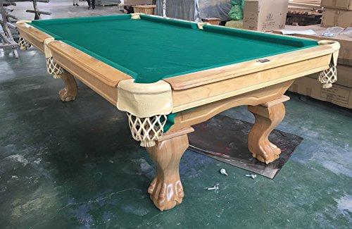 Kunibert 9 Ft. Tunierbillard Billardtisch mit 3cm starken Schieferplatten Billard Tuchfarbe Grün, Poolbillard Gestellfarbe: Natur