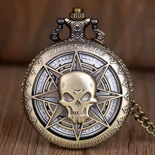 nobrand Taschenuhr, Vintage Bronze Quarz Taschenuhr Hollow Carribean Pirate Skull Head Horror mit Kette Steampunk Anhänger Halskette für Männer Frauen