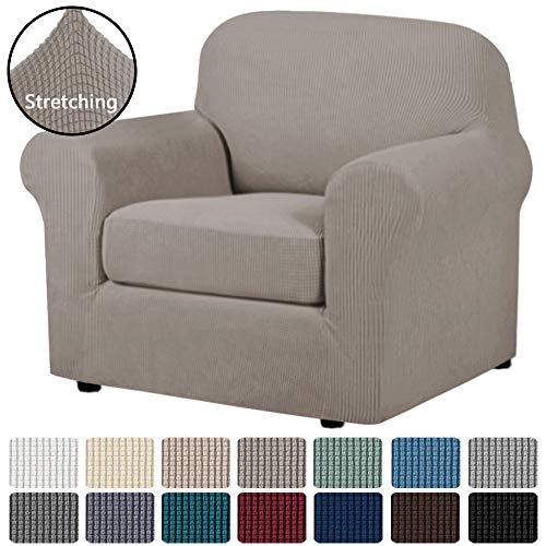 H.VERSAILTEX Stretch Chair Slipcovers 2 Pieces Armchair Cover Furniture Protector Chair Covers for Living Room Fit Chair Width Up to 48 Inches, Jacquard Spandex High Spandex Fabric(Chair, Taupe)
