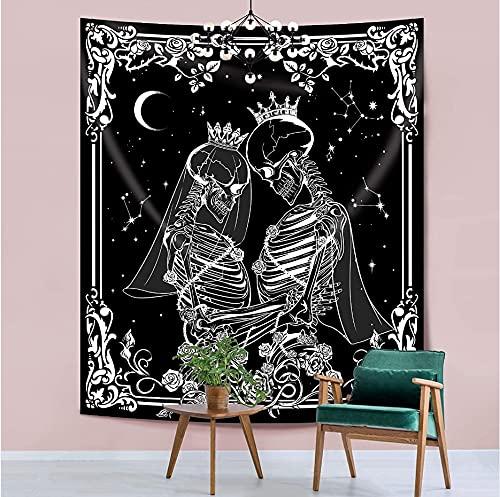 Tarot tapiz en blanco y negro estética colgante de pared hippie bohemio tapiz de astrología tapiz A19 180x230cm