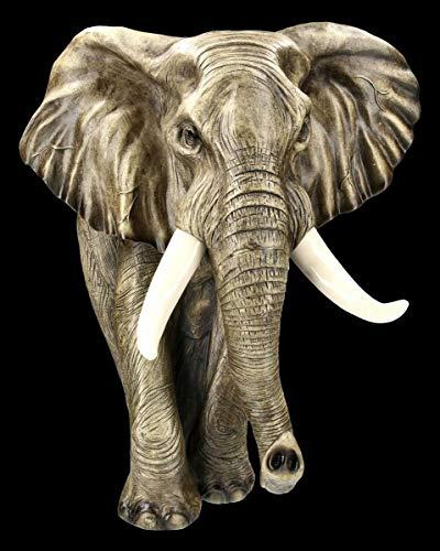 Casa Collection Wandrelief - Elefant Gartenfigur | Wanddeko Tierfigur Gartendeko Gartenstatue zum Hängen H 41 cm