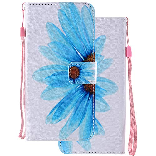 LEMORRY Handyhülle für Huawei Honor Play 8A / JAT-L29 Hülle Leder Tasche Beutel Schutz Magnetisch Stehen mit Kartenschlitz Weich Silikon Flip Cover Schutzhülle für Honor Play 8A, Blume Malerei