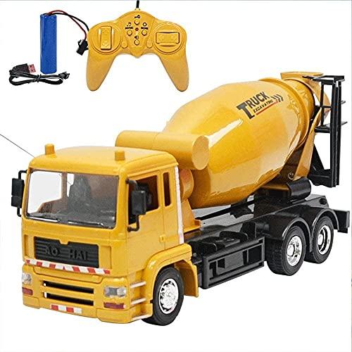 GOSHITONG Camión De Ingeniería De Camión De Cemento Con Control Remoto 1/24 Camión Mezclador De Juguete Con Estructura De Metal Pesado De 2.4GHz, Juguete De Camión De Cemento Con Control Remoto, El Ni