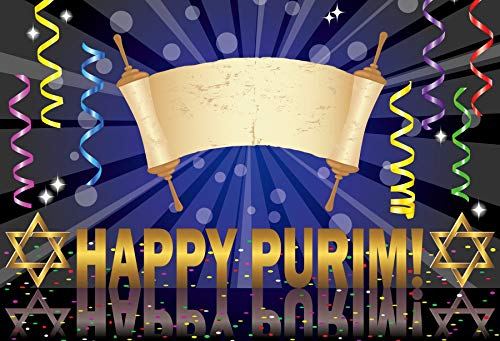 OERJU 12x10ft Happy Purim Backdrop Hamans Ear Golden and White Mask Blue Photography Background Jewish Carnival Holiday Decorations Purim Celebration Banner Kids Adults Holiday Portrait Photo Props