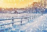 MMPTn 6x4ft Fondo Invierno Copo Nieve Fondo Naturaleza Paisaje nevado Fotografía Telón Fondo Caída Nevado Tierras agrícolas Cerca cabaña Árboles Navidad Campo Nieve navideña Año Nuevo Estudio