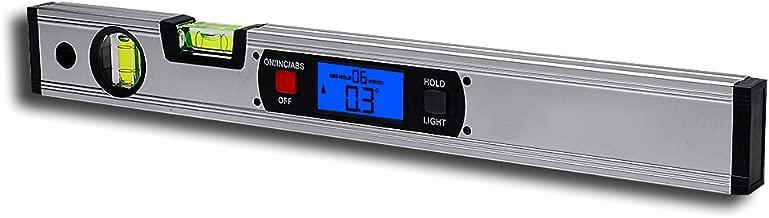 Spirit Level, RISEPRO Digital Inclinometer Spirit Level Angle Gauge Finder Upright Magnet 360° Range 416mm long with Backlight 82112M-S