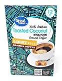 Great Value Toasted Coconut Artificially Flavored Ground Coffee - Light Arabica Coffee 12 counts Net WT 3.9 OZ (112g)
