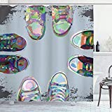 Cortina De Baño Moderna, Zapatos Rockeros Rebeldes De Goma para Adolescentes En Street Squad Friends Gang Abstract Image Print, Conjunto De Baño De Tela con Ganchos, Bebé 122X183CM