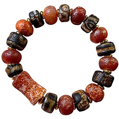 J.Memi's Pulsera Tibetana Budista Hombre, Ágata Vieja Feng Shui Amuleto Cuff Bracelet Atrae Energía Positiva Y Buena Suerte Joyas Accesorios,A