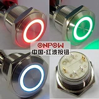 ONPOW 16mm Flat Round,Tri-Color (RGB) Momentary,12V Ring LED Illuminated Stainless Steel Push Button Switch (GQ16F-10E/J/RGB/S) (GQ16F-10E/J/42RGB/12V/S)