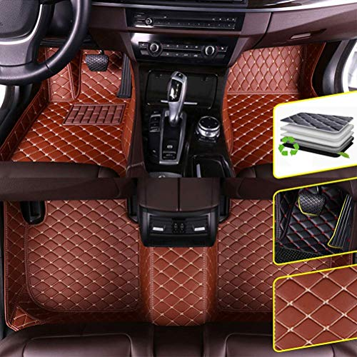 DBL Custom Car Floor Mats for Lexus 2016-2019 LX 8 Seats (fire Extinguisher) Waterproof Non-Slip Leather Carpets Automotive Interior Accessories 1 Set Brown