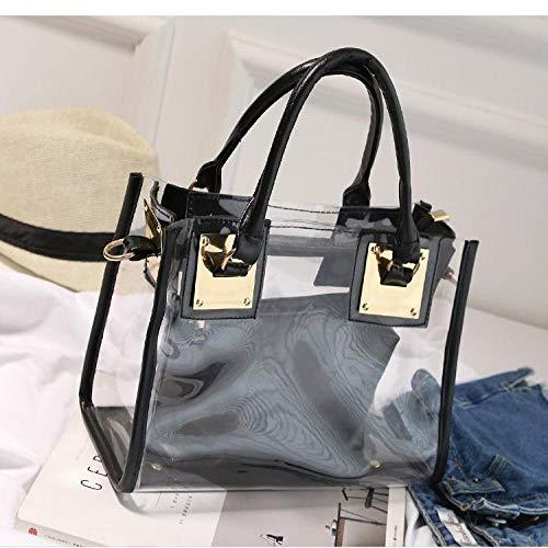 Tasche Tragbare Weibliche Strandtasche Schulter Bote Mutter Und Kind Transparente Gelee Handtasche Weibliche Tasche Weibliche Tasche M Schwarz