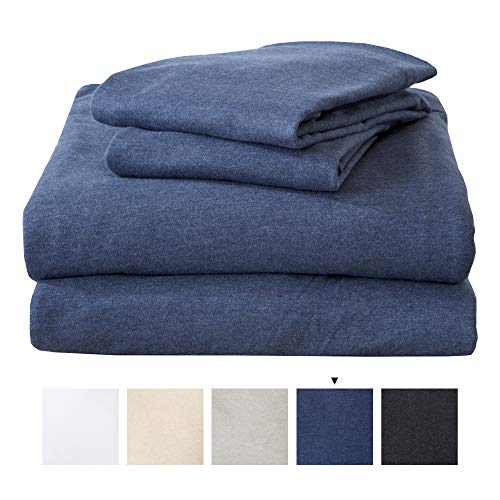 Great Bay Home Twin Jersey Knit Sheets. All Season, Soft, Cozy Flannel Jersey T-Shirt Sheet Set. Cotton Blend Jersey Sheets. Cozy Flex Collection (Twin, Navy)