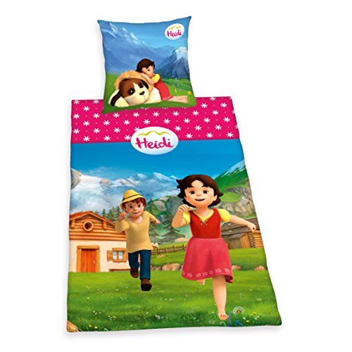 Herding HEIDI Bettwäsche-Set, Kopfkissenbezug 80x80cm, Bettbezug 135x200cm, 100% Baumwolle, Renforcé, mit leichtläufigem Reißverschluss