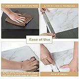 Homein Möbelfolie Marmor Folie Klebefolie Vinyl Selbstklebend Dekorfolie Fensteraufkleber PVC Aufkleber für Möbel Küche Küchenschrank Granit 44.5 x 200 cm - 4