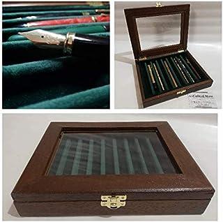 Portapenne in legno da scrivania display in legno e velluto wooden pencil case by Coins&More