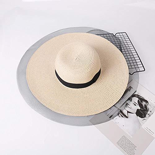 Sombrero De Playa para Summer Sun Floppy Shade Sombrero De Paja Sombreros De Verano para Mujeres Banda Negra Lado Ancho Gasa Fina Patchwork Papel Tejido Panam Sombrero Onesiz