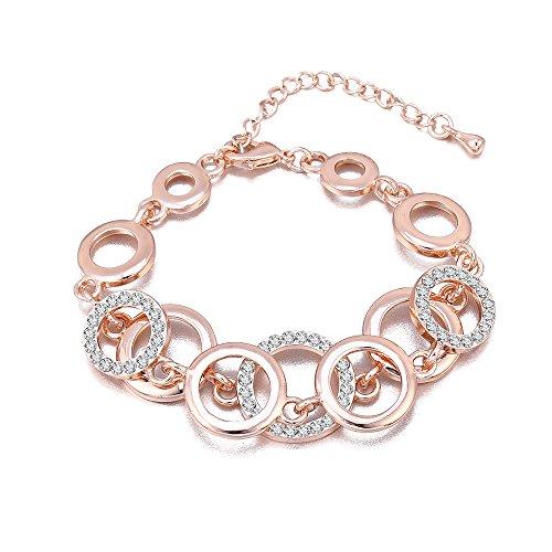 Bracciale per donna, anelli Bracciale a catena per ragazze Bracciale in oro e argento placcato braccialetto Coppie Friends Bracciale rigido con cristallo (Oro rosa)