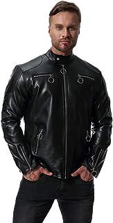 MISSMAO Mens Classic Casual Biker Leather Jacket Slim Fit Motorcycle Jacket