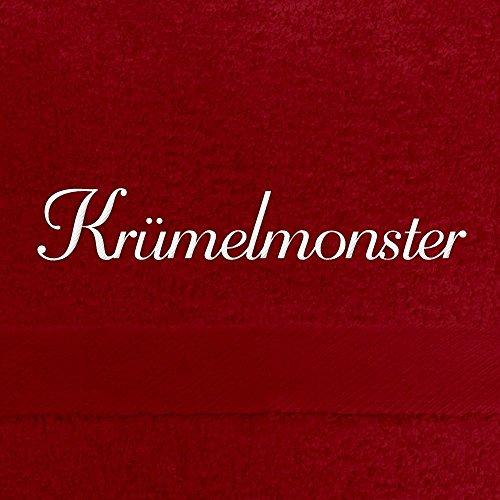 Handtuch mit Namen Krümelmonster bestickt, 50x100 cm, rot, extra flauschige 550 g/qm Baumwolle (100%), Badetuch mit Namen besticken, Duschtuch mit Bestickung