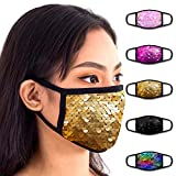 Sequin Face Mouth Mask - Double Sided Sequin Mask - Cotton Face Covering (5 Pack - Sequins)